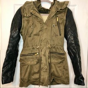 Zara Cargo and Leather Sherpa Lined Jacket